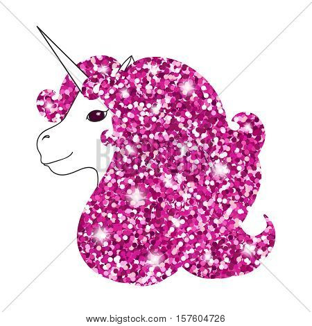 Unicorn with abstract sparkle pink glitter glowing mane. Shiny metallic style background for Valentine day card, poster, invitation. Hand drawn vector Illustration. Kid textile, card, t-shirt print