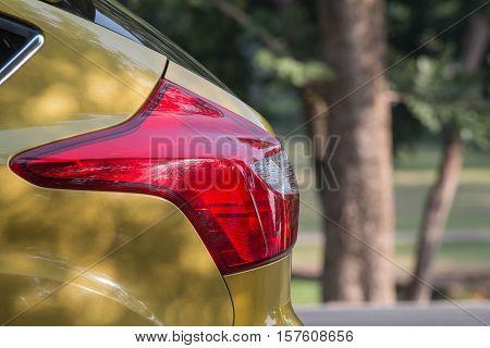Selective focus rear red lights, Car lights, Yellow Car