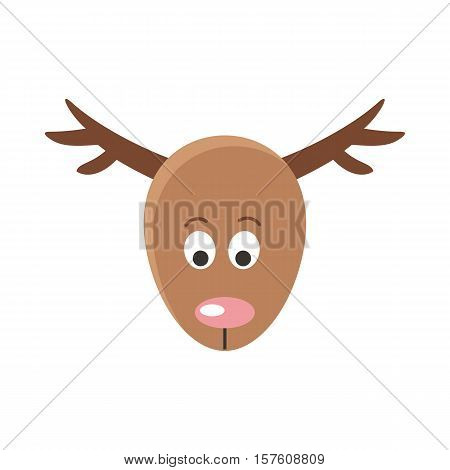 Deer cartoon sticker face. Red deer mammal with antler happy face. Funny sticker icon for children. Wildlife educational concept. Mask for masquerade, holiday, festival, halloween. Vector illustration