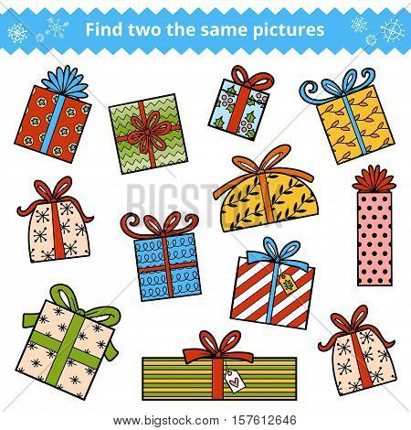 Find Two The Same Pictures, Color Set Of Christmas Gifts