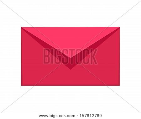 Message icon isolated on white. Red or pink communication letter sms, email and web envelope, send and internet mobile button, interface for application apps. Vector illustration in flat style design