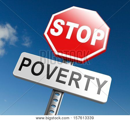 stop poverty give and donate to charity help the poor 3D, illustration