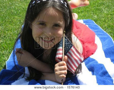 Young Girl With Flag