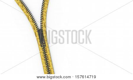 3D Rendering Close Up Zipper Texture On Isolated Background With Copy Space