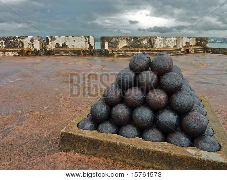 Cannonballs at a Spanish Fort