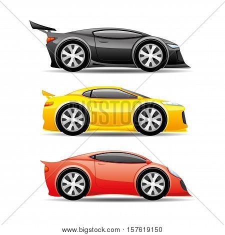 Beautiful colored cars on a white background.