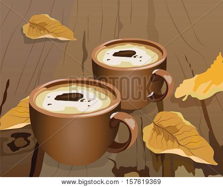 Cup of coffee and autumn leaves on wooden background. Seasonal cookies and morning coffee concept. Vector illustration