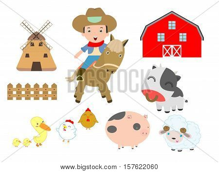 set of farm animals and cowboy on white background, barn, cow, pig,chicken, duck,sheep,horse, ox,Vector Illustration