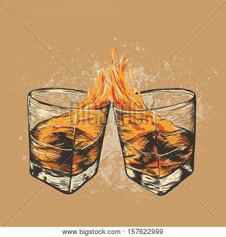 clinking glasses together with whiskey .Hand drawn style. Alcoholic drinks design.Vector illustration