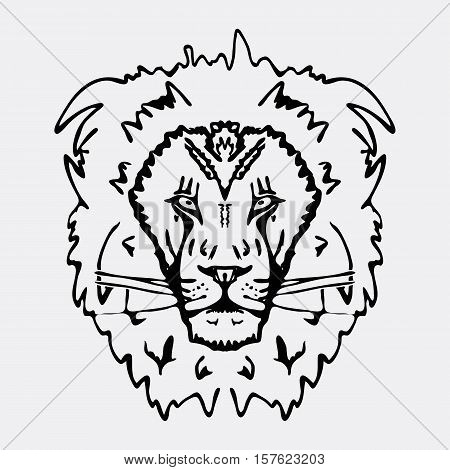 Hand-drawn pencil graphics, lion head. Engraving, stencil style. Black and white logo, sign, emblem, symbol. Stamp, seal. Simple illustration. Sketch.