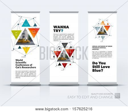 Business vector set of modern roll Up Banner stand design with geometric shapes, triangles, polygons, mesh for science, travel, finance, teamwork. Brochure for exhibition, fair, show.