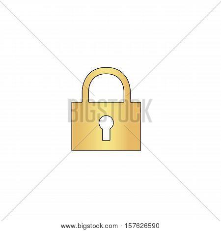 lock pad Gold vector icon with black contour line. Flat computer symbol