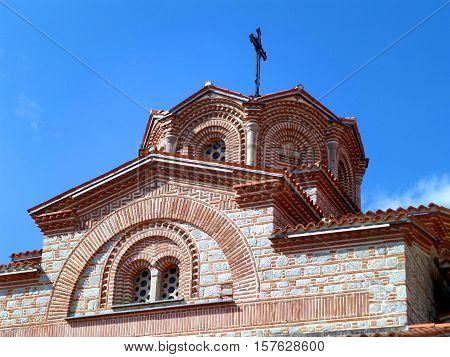 Beautiful Tower of Saint Clement Church Against Vivid Blue Sky, Ohrid, Macedonia