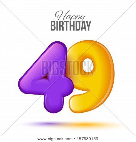 forty nine birthday greeting card template with 3d shiny number forty nine balloon on white background. Birthday party greeting, invitation card, banner with number 49 shaped balloon