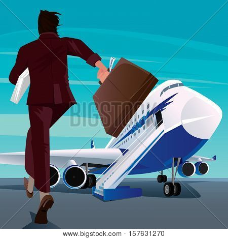 Businessman In A Hurry For The Passenger Plane