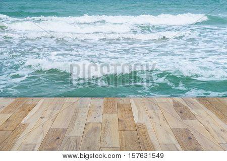Wooden terrace on the Sea - stock photo