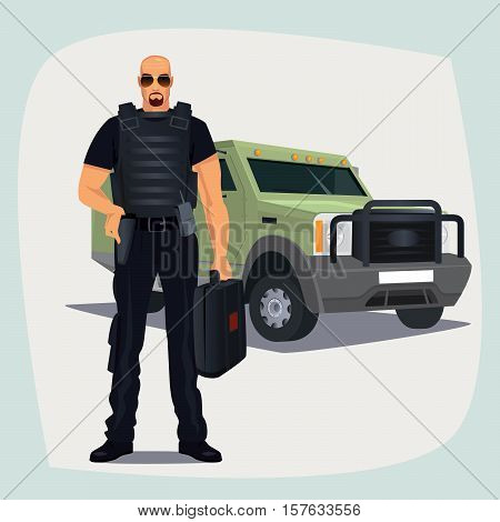Cash And Valuables In Transit Guard Man