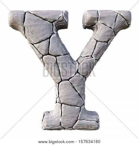 Alphabet from the stones. isolated on white background. 3D illustration.