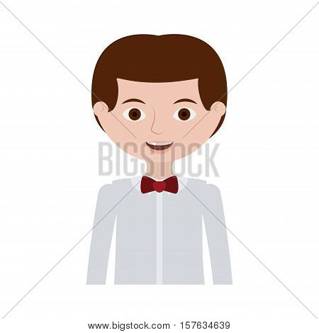 half body man with formal shirt and bowtie vector illustration