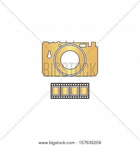Camera Gold vector icon with black contour line. Flat computer symbol