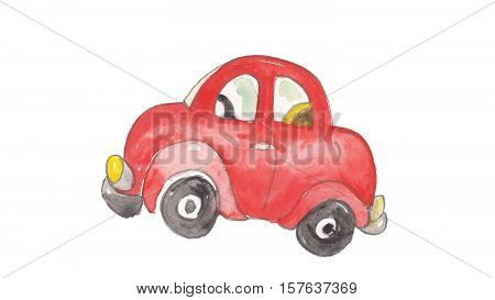 watercolor and colorful red car hand colored made