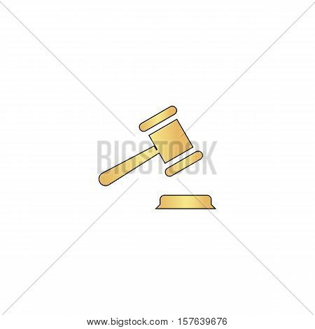 Judge gavel Gold vector icon with black contour line. Flat computer symbol