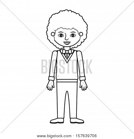 man silhouette with wavy hair formal suit vector illustration