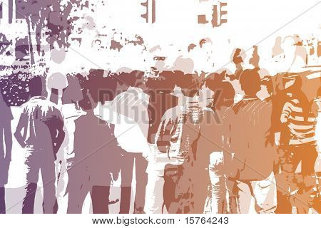 Crowd Abstract Background in Colors and White