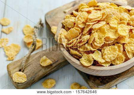 Corn Flakes In A Bowl Close-up.
