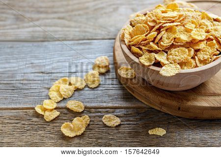 Bowl With Crunchy Cornflakes For Breakfast.