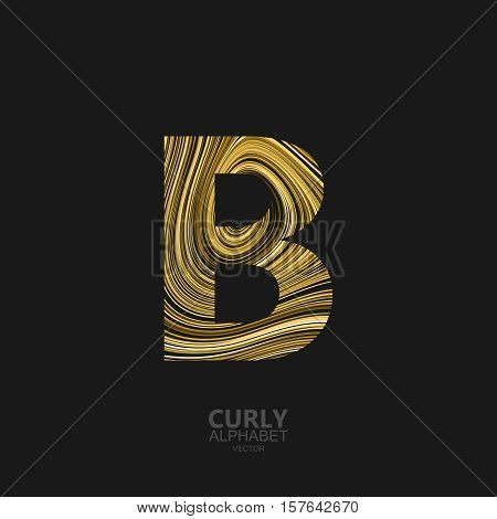Curly textured Letter B. Typographic vector element for design. Part of marble or acrylic texture imitation textured alphabet. Letter B with diffusion lines swirly pattern. Vector illustration