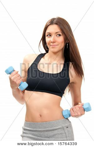 Fitness Woman On Diet Workout Dumbbells
