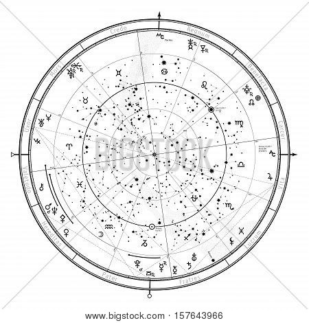 Astrological Celestial map of Northern Hemisphere. Horoscope on January 1 2017 (00:00 GMT). Detailed chart with symbols and signs of Zodiac planets asteroids & etc.