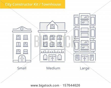 Premium Quality Hand drawn Line Icon And Concept Set: City Constructor Kit - townhouses.