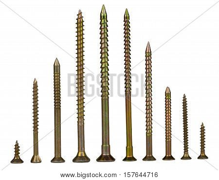 Gold screws pointing up, similar to the space ships at the start, white background, isolated