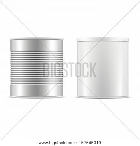Tin can set. White tin can with white cap and metallic can. Vector realistic illustration. Tin cans with plastic cap for baby powder milk tee coffee cereal and other products. Packaging collection.