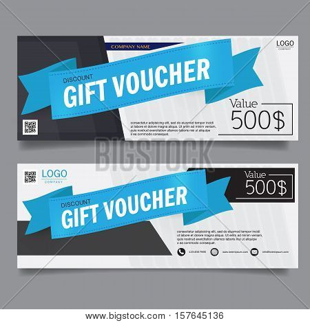 Gift Voucher Premier Color Gift voucher template. Discount voucher. Gift certificate. Set of two cards with place for your text Vector