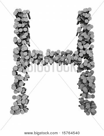 Alphabet Made From Hammered Nails, Letter H