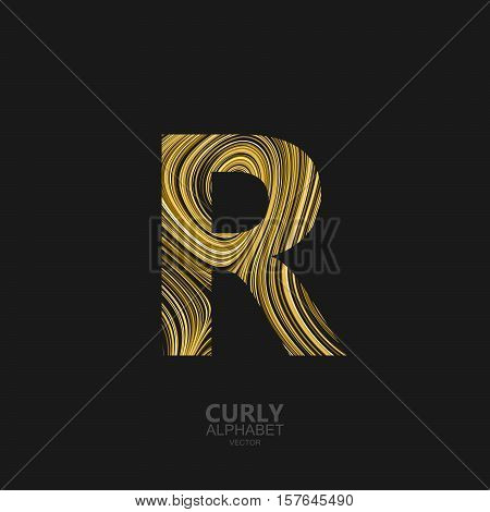Curly textured Letter R. Typographic vector element for design. Part of marble or acrylic texture imitation textured alphabet. Letter R with diffusion lines swirly pattern. Vector illustration