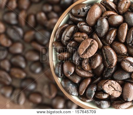 Top View Coffee Beans In Coffee Cup