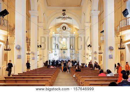 Interior Of The St. Dominic Church In Macau