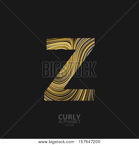 Curly textured Letter Z. Typographic vector element for design. Part of marble or acrylic texture imitation textured alphabet. Letter Z with diffusion lines swirly pattern. Vector illustration