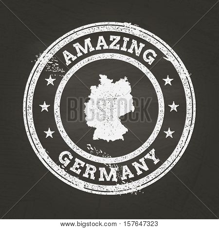 White Chalk Texture Vintage Stamp With Federal Republic Of Germany Map On A School Blackboard. Grung