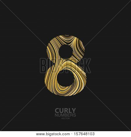 Curly textured number 8. Typographic vector element for design. Part of marble or acrylic texture imitation textured alphabet. Digit eight with diffusion lines swirly pattern. Vector illustration