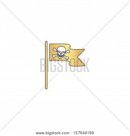 Jolly Roger Gold vector icon with black contour line. Flat computer symbol