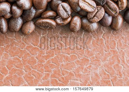 Top View Roasted Coffee Beans On White