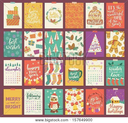 Huge Vector Set Of Christmas And Winter Greeting Cards. Vector Poster Collection In Bright Vintage P