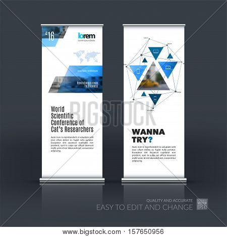 Business vector set of modern roll Up Banner stand design with triangular shapes, triangles, polygons, mesh for science, travel, network. Brochure for exhibition, fair, show.