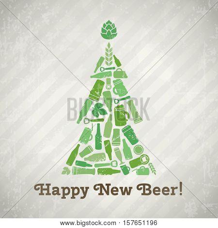 Vector christmas tree beer poster. Happy new beer tagline. Christmas tree made of craft beer bottles, beer mugs, glasses, beer ingredients and accessories. Vintage new year background in grunge style