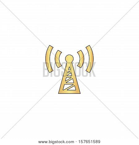 Transmitter Gold vector icon with black contour line. Flat computer symbol